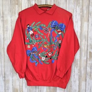 Vintage Christmas Holiday Collar Crewneck Red M